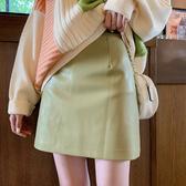 皮裙 PU皮裙包臀半身裙a字裙高腰短裙2020秋新款百搭顯瘦有內襯打底裙 快速出貨