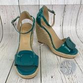 BRAND楓月 ROGER VIVIER 藍綠色 漆皮 經典方框裝飾 釦式 高跟鞋 鞋子 編織 楔型鞋 草鞋