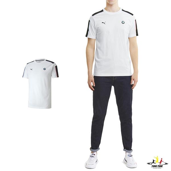 Puma BMW 男款 白色 短袖 T7 運動 休閒 棉質 短T 聯名款 賽車系列 短袖上衣 59799302