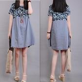 夏裝新款復古文藝大碼寬鬆舒適棉麻短袖連身裙女印花拼接亞麻中裙