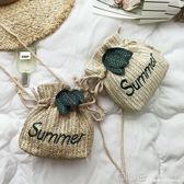 高級感草編水桶小包包女包2019新款潮森系編織仙女少女斜挎沙灘包  深藏blue