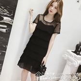 夏裝中長款蕾絲拼接超仙短袖雪紡連身裙女冷淡風蛋糕裙黑色裙子 歌莉婭