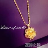 項鍊-帶脖子歐幣鍍24K金玫瑰花女久不褪色 奢華高檔項鍊 夏沫之戀
