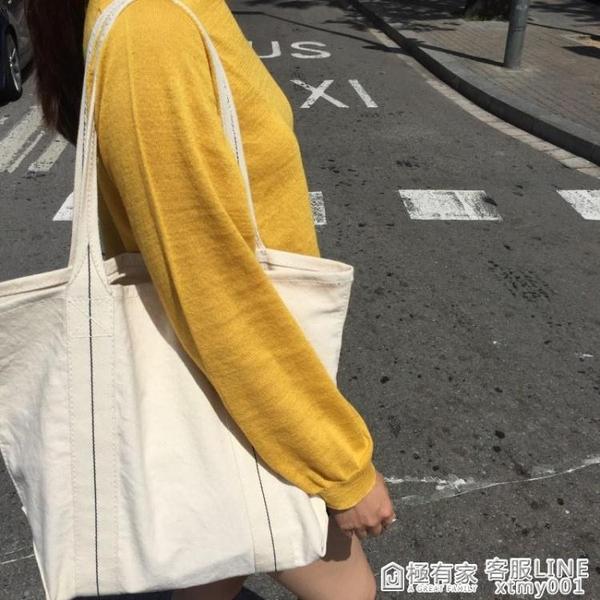 韓國百搭港風ins帆布袋慵懶風學生休閒簡約側背包chic大容量包女 秋季新品