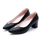 MICHELLE PARK 知性氣質 尖頭V型金屬鑲嵌高跟鞋-黑