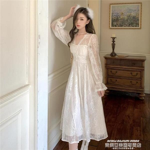 蕾絲洋裝 氣質顯瘦蕾絲長袖年新款大擺長裙子仙女秋冬季法式復古連身裙 萊俐亞 交換禮物