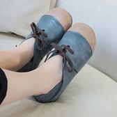 牛皮平底鞋 系帶拼接休閒鞋 兩穿真皮女鞋/2色-夢想家-標準碼-0110