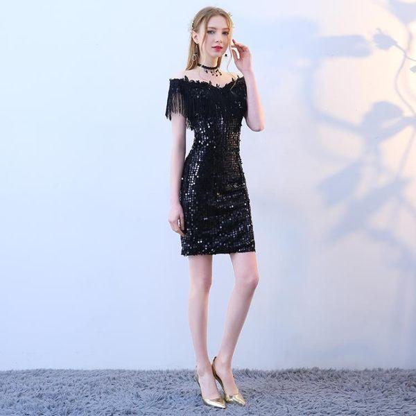 黑色禮服裙女2018新款夏季一字肩性感宴會洋裝小禮服短款名媛派對