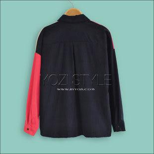 歐美撞色拼接寬松版長袖襯衫ZD125