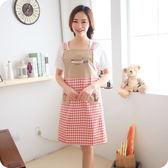 廚房女款刺繡無袖肩帶式家居圍裙 可愛時尚防污防油工作圍裙  居家物語