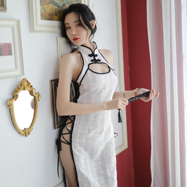 旗袍 全棉提花復古性感旗袍 透膚情趣角色扮演服白色COSPLAY表演服 流行e線A7256