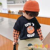 男童T恤假兩件寶寶長袖上衣小童打底衫兒童衣服【淘嘟嘟】