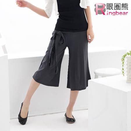 褲裙--粗大腿消失素面綁帶寬版褲裙(黑.灰M-XL)-R25眼圈熊中大尺碼★