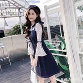 2018新款女裝春秋韓版網紗牛仔吊帶洋裝背帶時髦兩件套套裝裙子 漾美眉韓衣