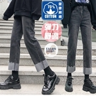 EASON SHOP(GQ0165)實拍73%純棉丹寧做舊磨白褲腳捲邊毛邊抽鬚收腰直筒牛仔褲女高腰長褲休閒褲寬褲