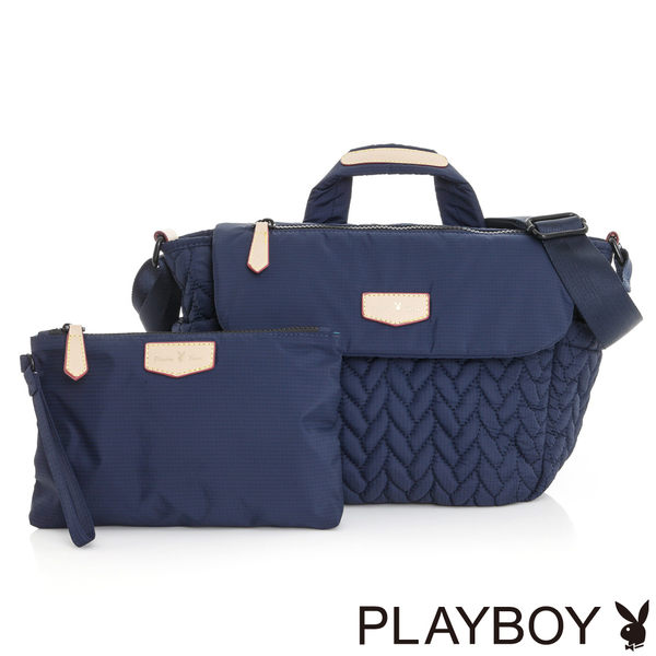 PLAYBOY- 可提斜背包 輕量空氣包系列-午夜藍