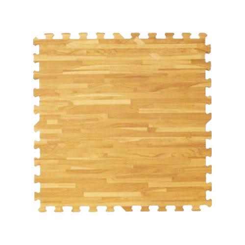 【新生活家】耐磨拼花木紋地墊-淺色62x62x1.4cm12入