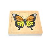 蒙氏早教拼圖玩具兒童啟蒙認知動物成長過程多層拼板青蛙蝴蝶嵌板