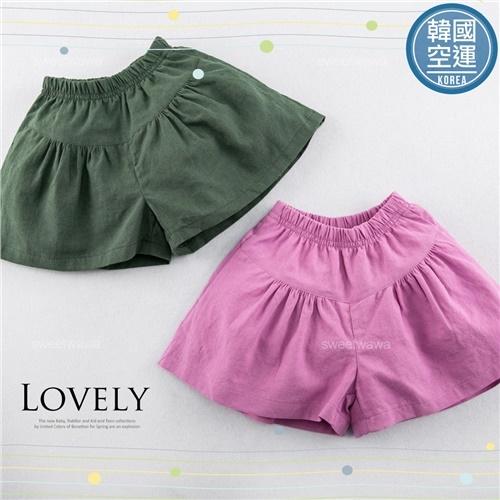 韓國童裝~甜彩糖果色全素面麻紗褲裙短褲(250535)★水娃娃時尚童裝★