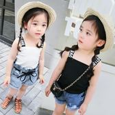 女童裝夏裝字母正韓休閒兒童背心吊帶衫女寶寶小孩上衣1-23456歲