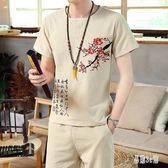 中大尺碼男士棉麻套裝 時尚中國風繡花上衣 短袖t桖 九分褲兩件式 CJ4100『易購3c館』