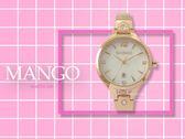 【時間道】MANGO休閒簡約晶鑽手環式仕女腕錶 / 白貝面玫瑰金鋼帶 (MA6723L-81R)免運費