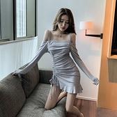 露肩洋裝 新品裙子一字肩氣質吊帶性感露肩包臀長袖洋裝女裝 - 風尚3C