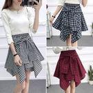 洋裝 正韓系帶假兩件松緊腰格子短裙不規則高腰半身裙襯衫裙女