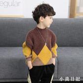 大碼男童毛衣 童裝男童毛衣套頭款兒童半高領水貂絨寶寶加絨加厚潮 qf19011【小美日記】