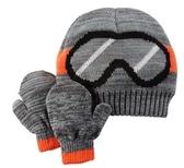 Carter's 帽子 滑雪眼鏡圖案灰色毛帽及手套組