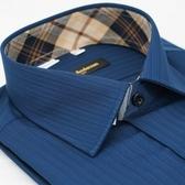 【金‧安德森】經典格紋繞領深藍暗紋吸排窄版長袖襯衫