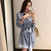 梨卡 - 秋冬簡約氣質純色綁帶縮腰長袖連身裙襯衫連身短裙洋裝BR128