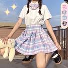 SISI【E21006】三件式套裝-日本蘿莉校園制服格紋蝴蝶節短袖襯衫上衣高腰百褶裙短裙JK學生角色扮演
