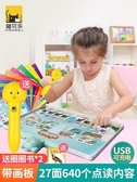 兒童中英文電子點讀書有聲書早教拼音幼兒點讀機學6筆發聲書 【快速出貨】