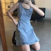 心機鏤空收腰藍色牛仔洋裝女裝2021夏季新款吊帶裙學生氣質裙子 【端午節特惠】