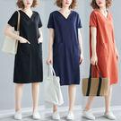 現貨 素色V領雙口袋洋裝-中大尺碼民族風...