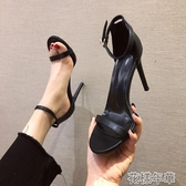 時尚白色一字扣帶涼鞋新款夏季百搭高跟鞋細跟黑色女鞋仙女風 花樣年華