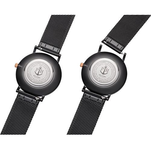 【時間道】PAUL HEWITT  SAILOR LINE簡約中性腕錶 /黑面霧黑米蘭帶 (PH-SA-B-BSR-4S)免運費