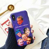 iPhoneX手機殼 可掛繩 紫色光面假笑男孩 矽膠軟殼 蘋果iPhone8X/iPhone7/6Plus