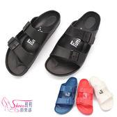 拖鞋.情侶款.貼合舒適樂活雙排扣室外拖鞋.紅黑白藍~鞋鞋俱樂部~~325 1161026 ~