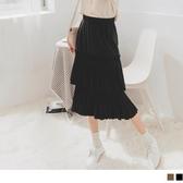 《CA1851-》甜美雙層百褶造型魚尾中長裙 OB嚴選