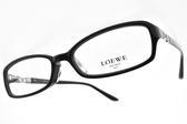 LOEWE 光學眼鏡 VLW837K 700 (黑) 簍空LOGO方框款 # 金橘眼鏡