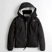 Hollister HCO 海鷗風衣外套防風防潑水刷毛鋪棉保暖外套(女-黑色-S)