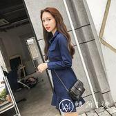 長袖牛仔連衣裙魚尾裙短款2018秋季新款韓版學生襯衫裙荷葉邊裙子