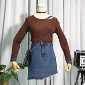 新款時尚簡約拼條紋修身顯瘦上衣女圓領長袖氣質針織衫