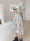 長袖連身裙 適合秋冬內搭 復古碎花裙 氣質V領繫帶收腰中長款雪紡裙連身裙女 coco衣巷