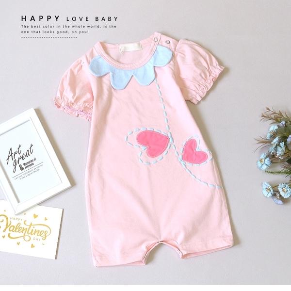 寶寶 可愛布織愛心包屁衣 春夏童裝 寶寶短袖 寶寶連身 寶寶包屁衣