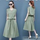 棉麻洋裝 棉麻連身裙2020年夏季新款女裝牛油果綠長裙收腰顯瘦氣質流行裙子 交換禮物