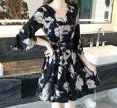 印花收腰修身顯瘦碎花黑色裙子五分袖淑女