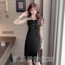 洋装現貨-2021春夏新款網紗黑色修身時尚收腰法式黑色波點開叉連衣裙 凯斯盾